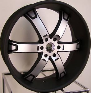 "24"" Black KMC Brodie Wheels Rims Ford F 150 Expedition Lincoln Navigator 6x135"