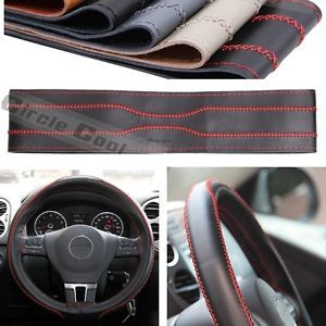 Leather Steering Wheel Wrap Cover 43009 Black Red Stitch Hummer Fiat Car SUV