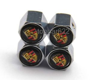 4X Metal Anti Theft Locking Tire Valve Stem Cap Wheel Caps Porsche T