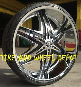 22 inch Diablo Elite Rims and Tires Cadillac Mustang Altima Maxima FWD Cars