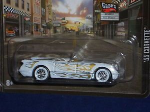 Hot Wheels 2013 Boulevard Series '55 Corvette Pearl White w Gold Flames