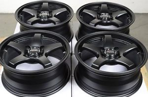 15 4x100 Matte Black Wheels Jetta Mirage Aveo Protege MR2 Miata Scion 4 Lug Rims