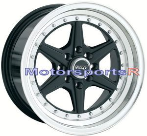 15 15x8 XXR 501 Black Rims Wheels Deep Dish 4x100 Stance 94 01 Acura Integra GSR