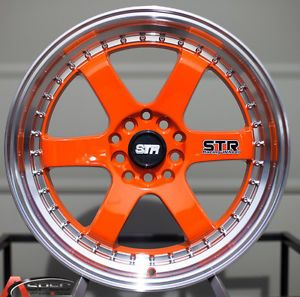 "17x7 Str 510 2"" Lip 5x100 5x114 3 35 Orange Machined Rim Wheel JDM Acura Honda"