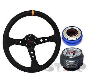 Subaru Jdmsport Deep Dish 350mm Steering Wheel BK Yellow Hub Quick Release Blue