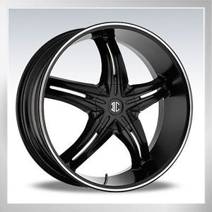 "24"" 2CRAVE No 15 Black Diam Wheels Rims Tires Fit Chevy Ford Nissan Cadillac GMC"