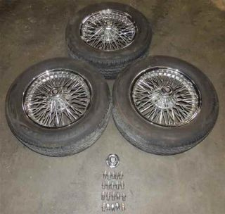 "2000 Jaguar XJ8 16x7"" Chrome Wire Wheels Dayton Rims Tires 3"