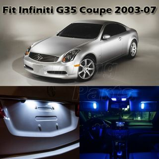7 x Blue LED Interior Lights Bulbs Package Deal for Infiniti G35 Coupe 2003 2007