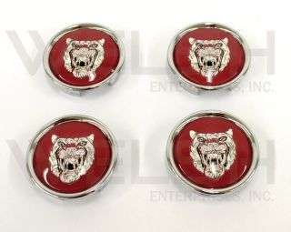 Jaguar Wheel Badge Set Center Cap Wheel Motif 1988 2012 Ruby Red Silver
