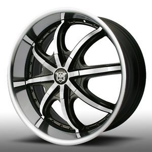 20 inch Mercel Wheels 837 Black Rims Wheel Tire Package Nissan Toyota Etc