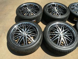 "20"" Lexani LX10 Wheels Jaguar XJ XJL New Tires Lip Staggered Black"