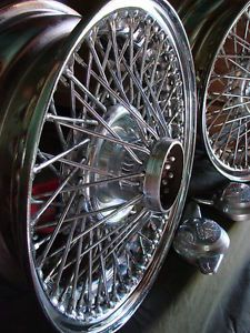 "Original 15"" Jaguar 72 Spoke Rims w Hubs Series 1 and 2 E Type Chrome Wheels See"