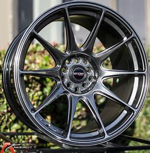 "18x9 75"" STM ST10 Wheels 5x100 114 3 Hyper Black Rims Fits Scion TC Stance"