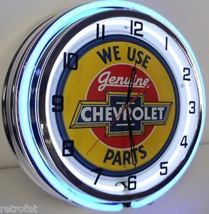 "Chevy 18"" Dual Neon Lighted Clock Parts Garage Bowtie Emblem Sign Camaro SS RS"