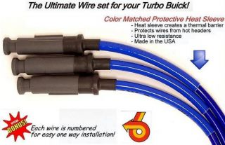 Buick Grand National T Type 10 mm Blue Spark Plug Ignition High Heat Wire Set