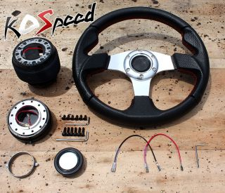 Silver Red Stitch PVC Leather Steering Wheel Hub Quick Release Toyota Pickup BB