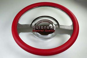 Red Classic Chevy GM Buick Pontiac Aluminum Steering Wheel Horn Button Adapter