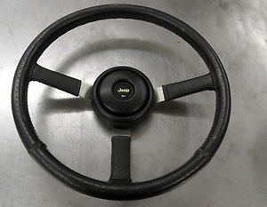 Jeep Steering Wheel Black Leather Wrapped with Horn Hardware Center Cap