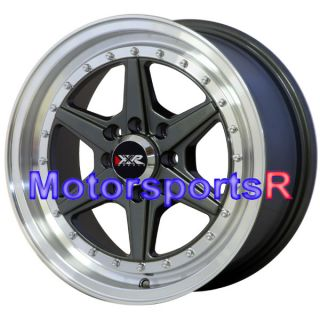 15 15x7 XXR 501 Gun Metal Lip Wheels Rims 4x100 92 95 96 98 Honda Civic SI Hatch