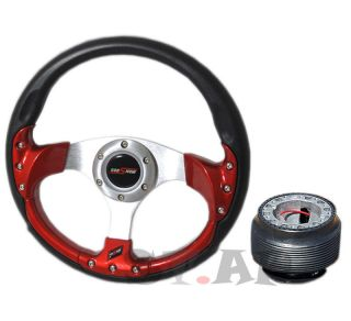Mitsubishi Godsnow Trim Frame 320mm Racing Steering Wheel Hub Adapter Black Red