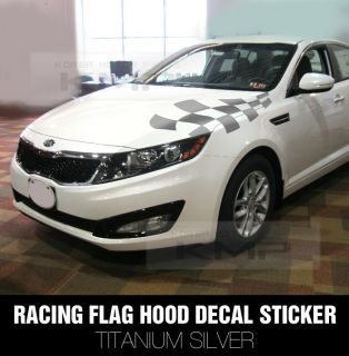 Racing Flag Hood Decal Sticker Silver for Kia 2011 2013 Optima K5