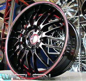 "Set of 4 New 18x8"" Ruff Racing R951 Black Red Lip 4x4 5 4x100 18 inch Rims Honda"