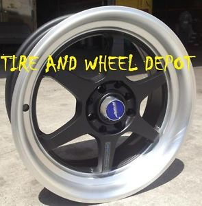 15 inch ID466 Matt Blk Mach Lip Rims and Tires Civic Accord Integra Kia Tercel