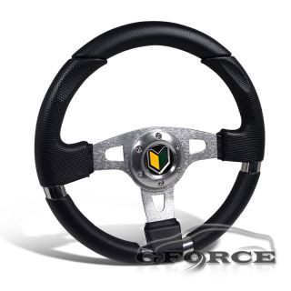 JDM Black Leather 320mm Jet Style Racing Steering Wheel