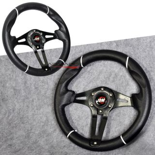 Universal Black 320mm Steering Wheel w Horn BMW Benz Chrysler Ford Dodge Chevy