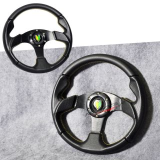 Universal 320mm Black PVC Leather Yellow Stitch 6 Bolt Steering Wheel Horn