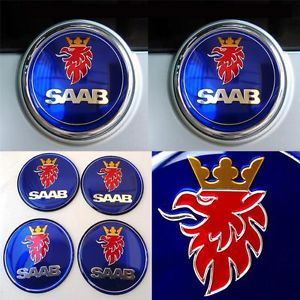 6 Piece Glossy Blue Saab Emblem Set 93 95 Wheel Center Bonnet Hood Trunk