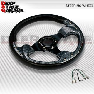 Standard 6 Bolt Aluminum Frame 320mm Racing Steering Wheel Black Carbon Fiber