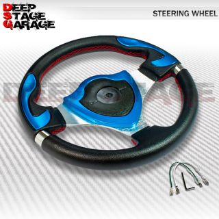 Universal 6 Bolt Aluminum 320mm Racing Steering Wheel Black Blue Shield Center