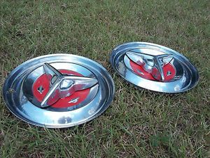 "Pair of 1956 Oldsmobile Fiesta Spinner Hubcaps Wheel Covers 15"" Rat Rod OE56SWC"