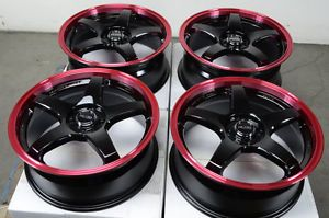 17 4x100 Red Effect Wheels Escort Cobalt Pontiac G5 G3 Protege Lancer Civic Rims