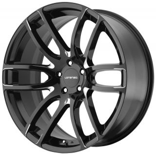 "22"" Lorenzo WL36 Wheel Set Gloss Black Milled Staggered 22x9 0 22x11 Rims"