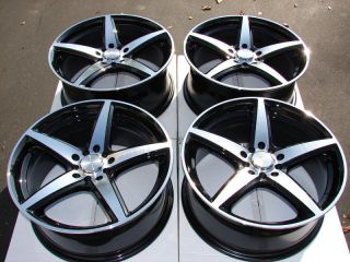 17 5x110 5x108 Wheels Black Malibu Cougar Volvo V40 Saab 3 9 Windstar 5 Lug Rims