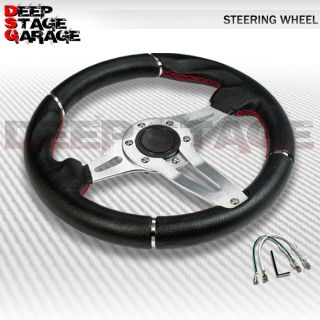 Standard 6 Bolt Adaptor Aluminum 320mm Racing Steering Wheel Black Silver Rivets