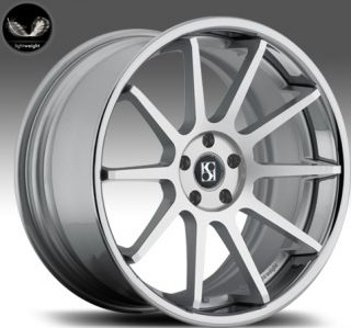 "22"" Koko Kuture Lindos Wheels Silver BMW 7 Series 740 750 760 B7 Concave Lip"
