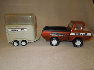 Vintage Tonka Truck with Horse Trailer Plastic Horse Great Condition