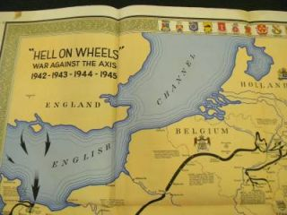 1942 1945 WWII Hell on Wheels War Against Axis Map 2nd Armored Division 14x29
