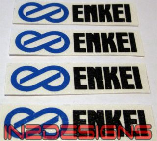 Enkei Wheel Decals x 4 Mitsubishi EVO Black Blue Larger Size