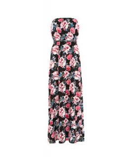 Black and Pink Floral Belted Badeau Maxi Dress