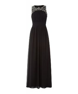 Black Embellished Yoke Cut Out Maxi Prom Dress