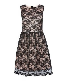 Mela Black and Pink Lace Sleeveless Dress