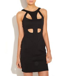 Black Cut Out Front Bodycon Dress