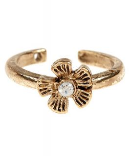 Gold Crystal Flower Toe Ring