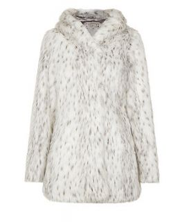 White Snow Animal Faux Fur Hooded Coat