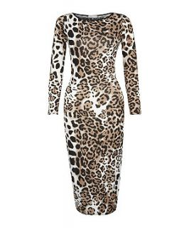 147 Fashion Brown Leopard Print Midi Dress