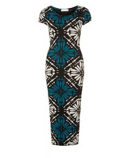 147 Fashion Black Diamond Aztec Print Midi Dress